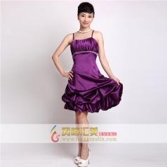 女士短款礼服   紫色吊带小礼服 可定制