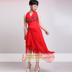红色挂脖小礼服 女士深V短款礼服