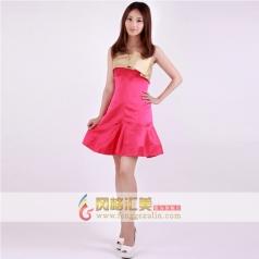 女士包肩演出服礼服  玫红色短款礼服