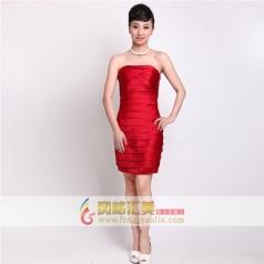 红色包肩小礼服 短款包臀婚纱礼服