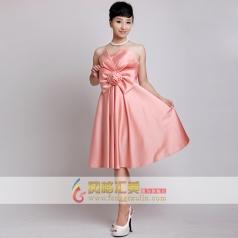 女士抹胸小礼服 粉色短款礼服定制
