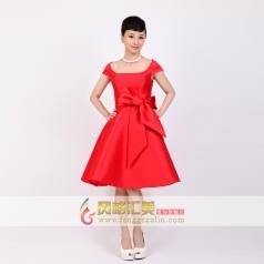 女士一字肩短礼服 红色小礼服 可定制