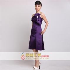 女士紫色小礼服 结婚用小礼服  主持人服装