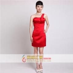 女士单肩小礼服 红色短款礼服 可定制