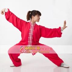 棉加丝中式立领男女太极练功服 大红