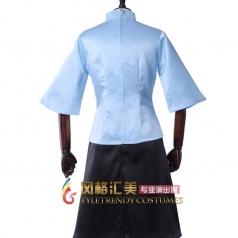 蓝色五四青年装学生装 女士年代学士服舞台演出服 可定制