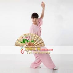 棉加丝中式立领男女太极练功服 粉色