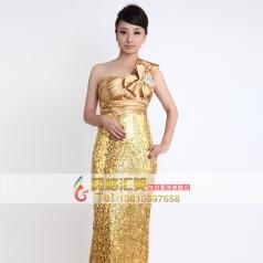 长款金色亮片舞台演出服装  女士长款礼服