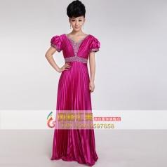 风格汇美 女士紫红色合唱服装 仿真丝合唱演出服 长款舞台服装定制