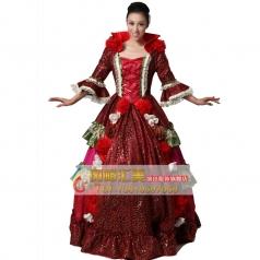 拖地欧洲贵族宫廷服装 王后演出服装