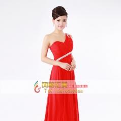 红色大合唱表演服装  长款女士舞台演出服
