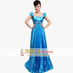 拖地女士大合唱舞台表演服装  长款演出服装