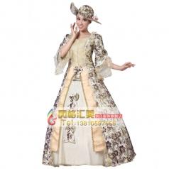刺绣花边高贵王后服装  欧洲宫廷演出服