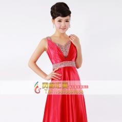 红色带钻长款大合唱服装  女士表演服装