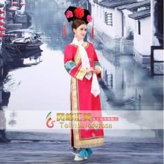 古代格格演出服  清朝红色公主格格服装  舞台古装演出服