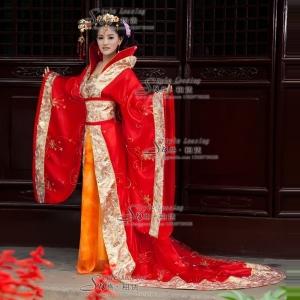 红色古代妃子服装 红色皇后古装演出服
