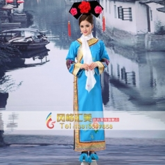 古代格格演出服  清朝蓝色公主格格服装  舞台古装演出服