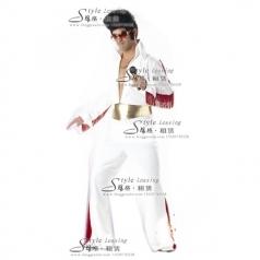 出租猫王演出服  白色表演舞台装 租赁年会服装