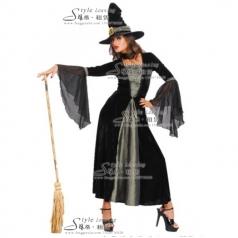 出租黑色巫婆服装  巫女演出服  租赁蓝精灵巫婆服装
