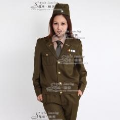 女士军队表演服装 演出军队制服