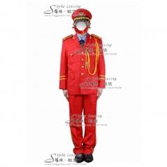 出租红色军旅礼服表演服装  租赁军队演出服装