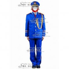 蓝色海军演出服装  男士军队制服