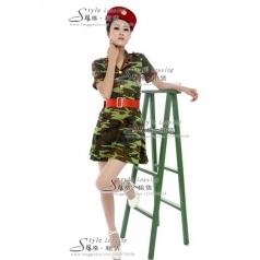 女士军队服装 迷彩服 演出服装 表演服装