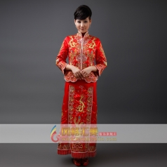 女士刺绣长款旗袍 礼服龙凤褂演出服装