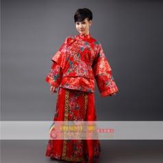 长款刺绣旗袍演出服装 女士龙凤褂