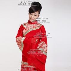 大红刺绣长款旗袍 女士龙凤褂演出服装