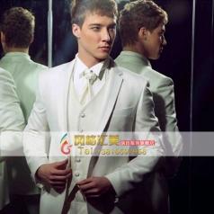白色主持人礼服舞台演出服装  男士西服套装