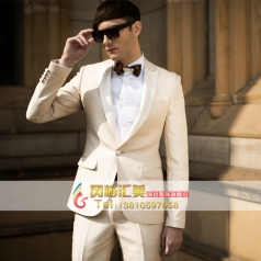 白色礼服套装 舞台演出服装 男士西服
