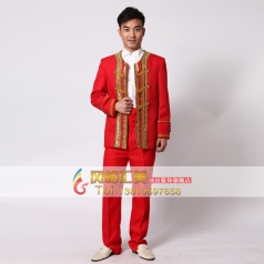 红色男士宫廷服装 表演服装