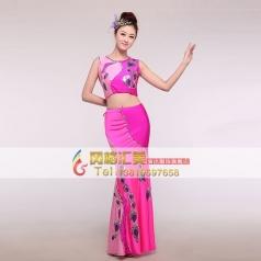 2014新款女士傣族舞蹈鱼尾裙 少数民族风特色表演服装