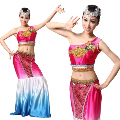 傣族舞蹈服装 民族舞蹈演出服定做