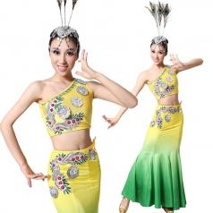 风格汇美女士单肩包臀演出服装傣族民族舞蹈服装 舞台演出服装