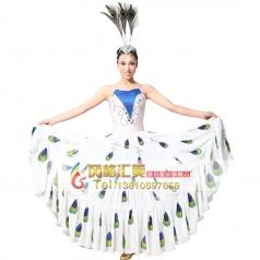 风格汇美 新款女傣族民族表演服装 孔雀舞蹈服装 民族演出服装