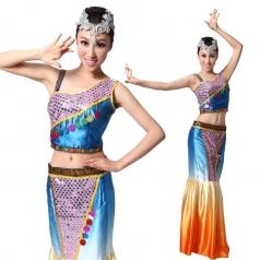 单肩傣族舞蹈服装 民族舞蹈演出服装定做