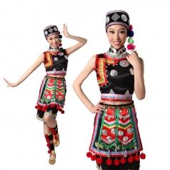 风格汇美 彝族服装 女 彝族舞蹈服装演出服 民族舞服装 彝族短裙