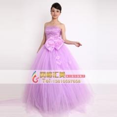 紫色抹胸蓬蓬晚礼服 唱歌演出服 表演服定做