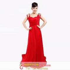 红色双肩晚礼服 敬酒服 结婚礼服