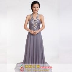 灰色长款晚礼服 结婚礼服 主持人礼服
