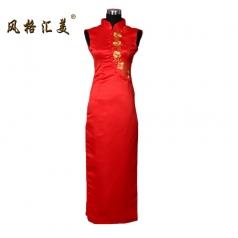 风格汇美正品特价 定制夏装 红色中式复古 招待服装 奥运礼仪旗袍