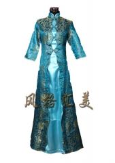 风格汇美 新款青色民族风礼服 奥运长款旗袍 舞台演出裙 舞蹈表演