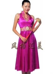 风格汇美正品 新款紫色V领长款奥运旗袍 庆典礼仪连衣裙 表演服装