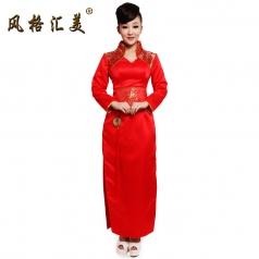 风格汇美 2013新款红色立领奥运长款礼服 庆典礼仪旗袍 演出服