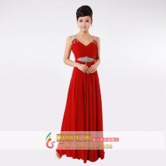 红色双肩晚礼服 长款礼服 主持人礼服