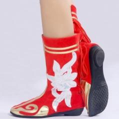 舞蹈靴 蒙古舞蹈鞋 女士民族舞蹈演出靴套高弹力靴子红色