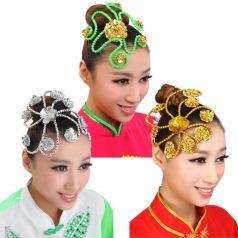 金色银色亮片花秧歌民族现代头花开场舞台演出舞蹈表演