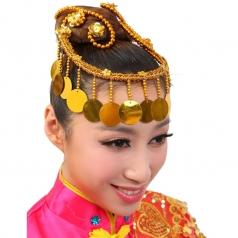 金色亮片流苏花秧歌民族现代头花开场舞台演出舞蹈表演广场金色